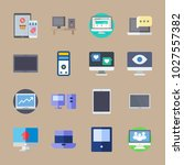 icons computer with social... | Shutterstock .eps vector #1027557382