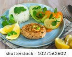 healthy salmon burger with rice ... | Shutterstock . vector #1027562602