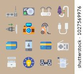 icons gadgets with cards  tape... | Shutterstock .eps vector #1027569976