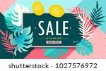 sale floral banner. paper cut... | Shutterstock .eps vector #1027576972