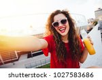 attractive young woman with... | Shutterstock . vector #1027583686