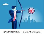 success. businessman aiming... | Shutterstock .eps vector #1027589128