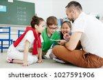 contemporary teacher drawing... | Shutterstock . vector #1027591906