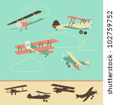 set of retro airplanes in color ... | Shutterstock .eps vector #102759752