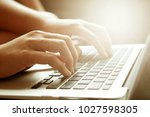 women hands working using... | Shutterstock . vector #1027598305