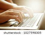 women hands working using... | Shutterstock . vector #1027598305
