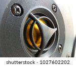 Small photo of High-frequency loudspeaker of golden color high-quality acoustics pure precisely saturated sound