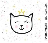 painted cute vector cat....   Shutterstock .eps vector #1027606636
