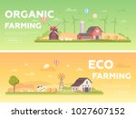 organic farming   set of modern ... | Shutterstock .eps vector #1027607152
