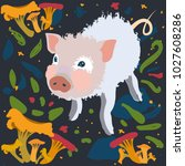 the cute little pig was lost in ... | Shutterstock . vector #1027608286