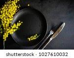 festive table setting for... | Shutterstock . vector #1027610032