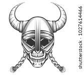 human skull in viking helmet... | Shutterstock .eps vector #1027614466