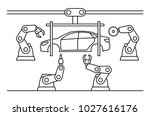 thin line style car assembly... | Shutterstock .eps vector #1027616176