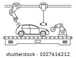 thin line style car assembly... | Shutterstock .eps vector #1027616212