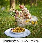 bbq meat prepare on fire  | Shutterstock . vector #1027625926