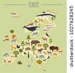 flat european flora and fauna... | Shutterstock .eps vector #1027628245