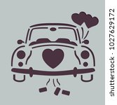 wedding car stencil  | Shutterstock .eps vector #1027629172