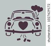 wedding car stencil  | Shutterstock .eps vector #1027629172