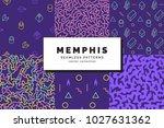 set of memphis seamless...   Shutterstock .eps vector #1027631362