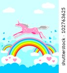 unicorn on rainbow | Shutterstock .eps vector #102763625
