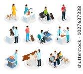 isometric veterinary clinic set ... | Shutterstock .eps vector #1027637338