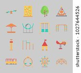 icons about amusement park with ... | Shutterstock .eps vector #1027644526