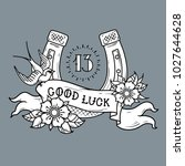 tattoo gold horseshoe with... | Shutterstock .eps vector #1027644628
