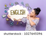 english with young woman... | Shutterstock . vector #1027645396