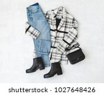 blue jeans  striped coat  small ...   Shutterstock . vector #1027648426