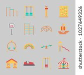 icons about amusement park with ... | Shutterstock .eps vector #1027649326