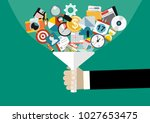 hand holding funnel  big data... | Shutterstock .eps vector #1027653475