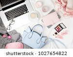 fashion blogger workspace with... | Shutterstock . vector #1027654822
