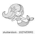 beautiful mermaid with long... | Shutterstock .eps vector #1027655092