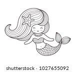 beautiful mermaid with long... | Shutterstock .eps vector #1027655092