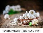 Garlic Bulbs In Wooden Basket...