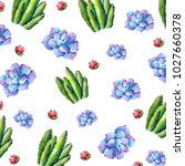 watercolor floral background.... | Shutterstock . vector #1027660378