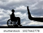 gesture hand stop and disabled... | Shutterstock . vector #1027662778