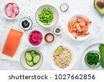 fresh ingredients for prawn... | Shutterstock . vector #1027662856