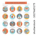 seo and development. set of... | Shutterstock .eps vector #1027665175