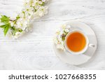 cup of  tea and  branches of... | Shutterstock . vector #1027668355
