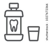 mouthwash bottle line icon ... | Shutterstock .eps vector #1027672366