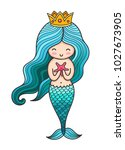 princess mermaid with long... | Shutterstock .eps vector #1027673905