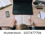 guy writes in a diary some notes | Shutterstock . vector #1027677706