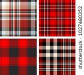 set of four seamless tartan... | Shutterstock .eps vector #1027680352