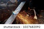 cutting metal sheet with... | Shutterstock . vector #1027682092