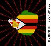 zimbabwe map flag on red hex... | Shutterstock . vector #1027684102