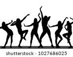 silhouettes of dancing girls | Shutterstock .eps vector #1027686025