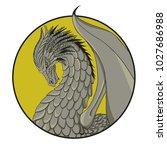 winged dragon circle logo   Shutterstock .eps vector #1027686988