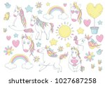 unicorn in pink  blue  yellow... | Shutterstock . vector #1027687258