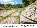 ancient marble and way at the...   Shutterstock . vector #1027689316